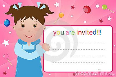 Party invitation card - girl