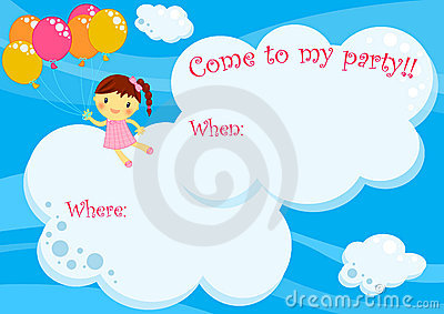 Party invitation card girl flying with balloons