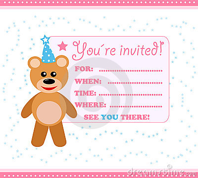 Party Invitation Card With Teddy Royalty Free Stock Photography ...