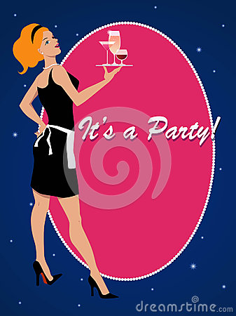 Party invitation with a cocktail waitress