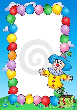 Free Party Invitation Frame With Clown 3 Royalty Free Stock Photos - 8783248