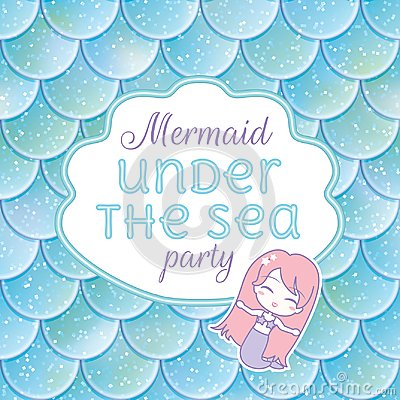 Free Party Invitation. Glittered Fish Scales, Kawaii Mermaid Stiker And Frame. Vector Illustration Stock Photos - 113714283
