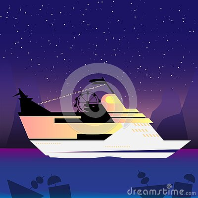Party liner travel large luxurious passenger ship vacation leisure Vector Illustration