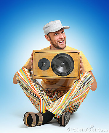 Party man with wooden speaker