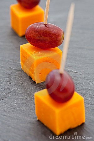 Party snacks. Cheese cubes and grapes