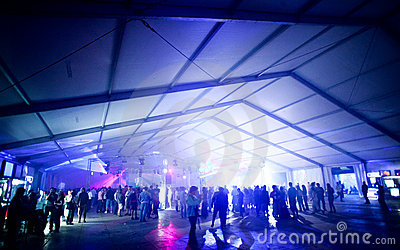 Party tent with people dancing Editorial Stock Image