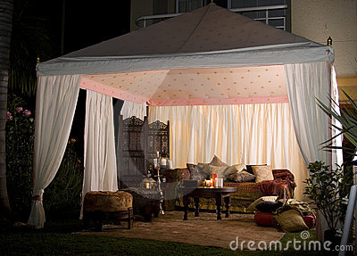 Party or wedding tent at night
