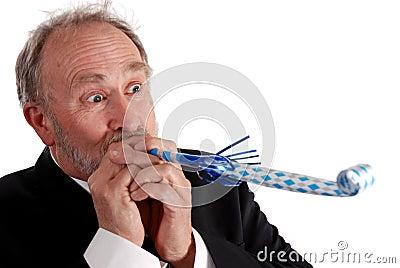 Partying senior business man
