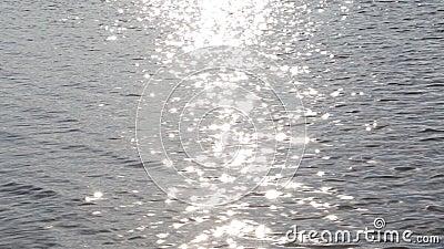 Pasek światło słoneczne na poruszającej falistej wody powierzchni zdjęcie wideo