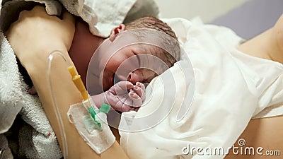 Pasgeboren baby die op de borst van de moeder liggen stock video