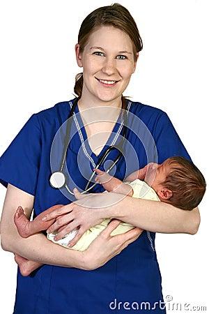 Pasgeboren baby en Verpleegster