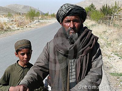 Pashtun Man and Boy Editorial Photo