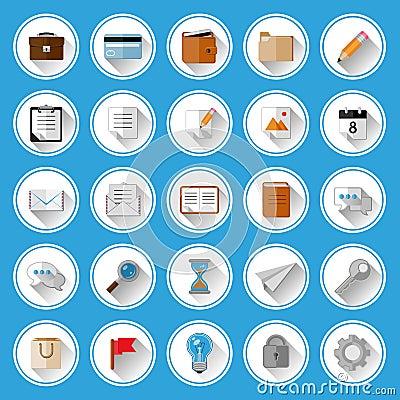 Płaskie ikony i piktogramy ustawiający
