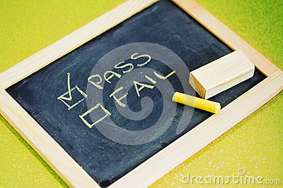 Pass or fail writing on blackboard