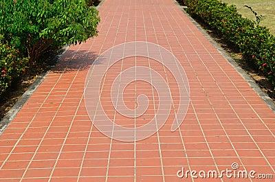 Passage way with orange trellis