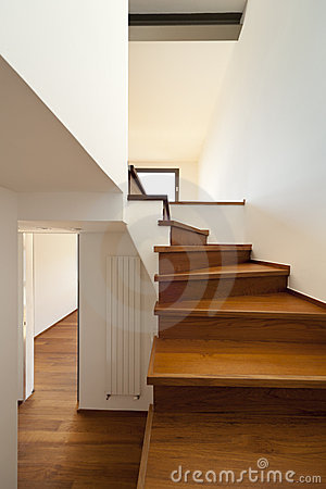 Passage and wooden staircase
