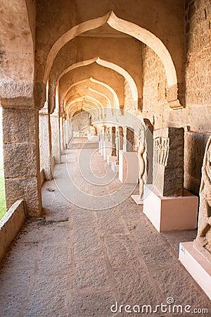 The passage of Zenana Enclosure, area of Hampi
