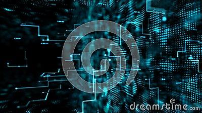 Passagem escura abstrata do voo do fundo através do elemento digital da partícula para o conceito da tecnologia digital do cyber  ilustração stock