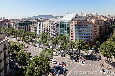Passeig de Gracia Barcelona Spain Editorial Photography