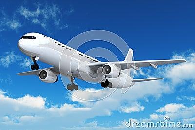 Passenger airliner flight