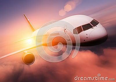 Passenger airplane flying.