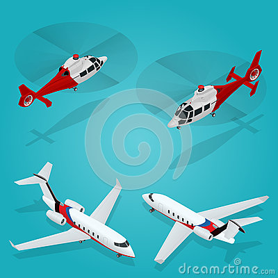 Free Passenger Airplane. Private Jet. Passenger Helicopter. Isometric Transportation. Aircraft Vehicle. Air Transportation Stock Images - 75206634