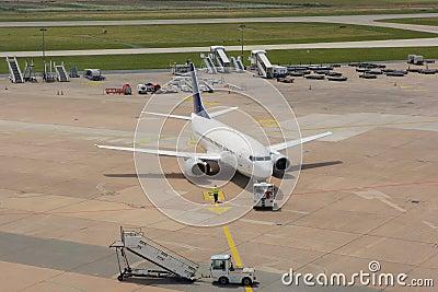 Passenger airplane of runway