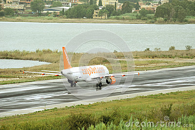 Passenger airplane takeoff from active runway Editorial Stock Image