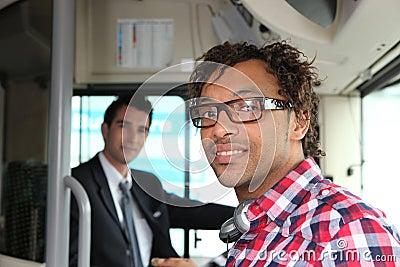 Passenger boarding a bus