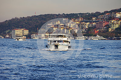 Passenger boat and Istanbul panoramic view