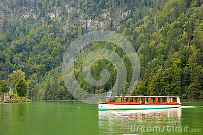 Passenger boat in the lake. Konigssee. Germany Editorial Stock Photo