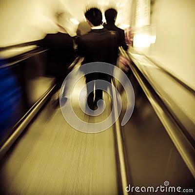 Passenger on elevator