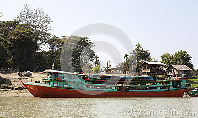 Passenger Ferry Boat on Irrawaddy River Editorial Photography