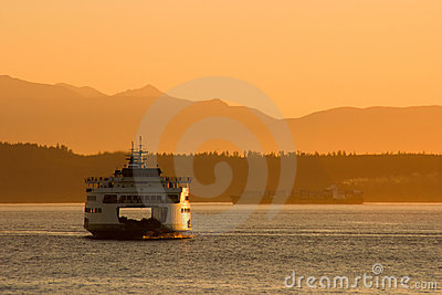 Passenger Ferry at Sunset