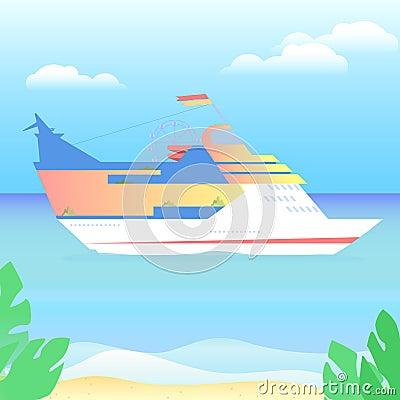 Large luxurious passenger ship vacation leisure travel morning Vector Illustration
