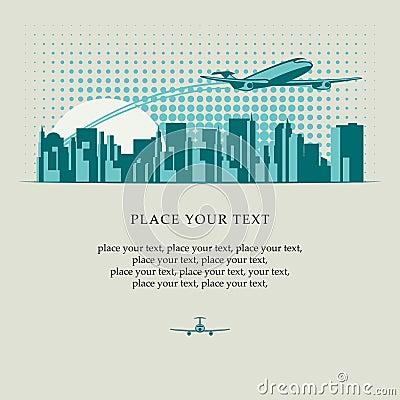 Passenger plane over city