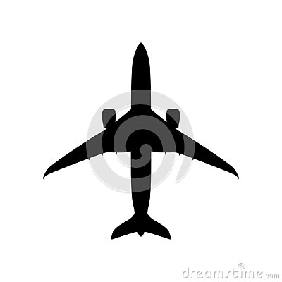 Free Passenger Plane, Vector Illustration,  Black Silhouette Royalty Free Stock Image - 144797106