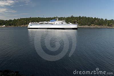 Passenger ship on the sea by island