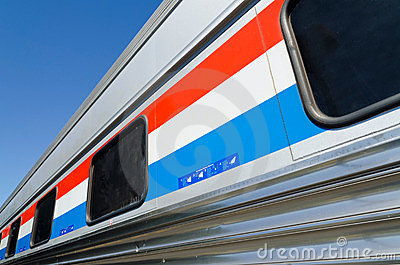 Passenger train car closeup