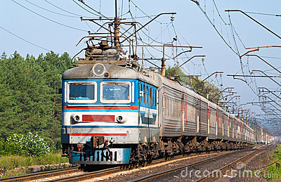 Passenger train hauled by electric locomotive