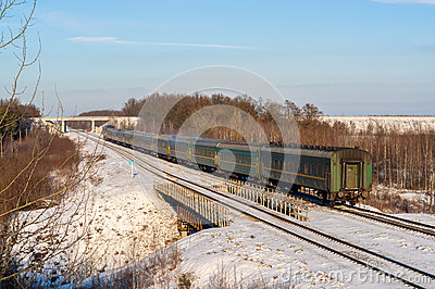 Passenger train during wintertime in Ukraine