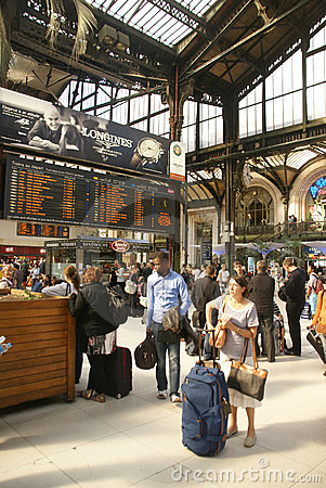 Passengers arrive at the Gare de Lyon Editorial Photo