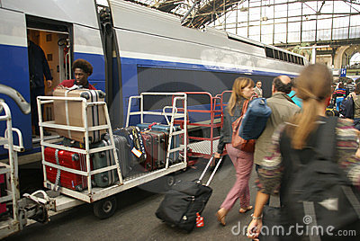 Passengers arrive Gare de Lyon Editorial Stock Image