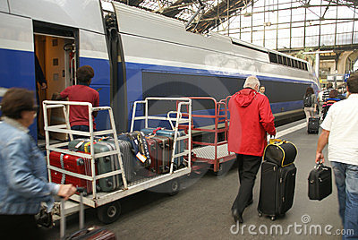 Passengers arrive Gare de Lyon Editorial Stock Photo