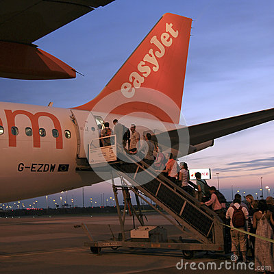 Passengers boarding an EasyJet Airbus A319 Editorial Photography