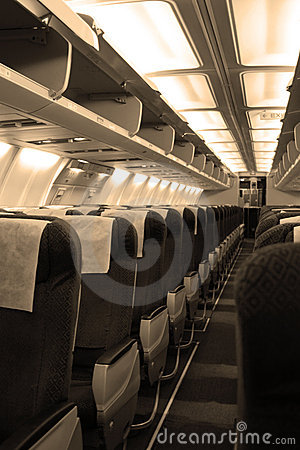 Passengers cabin in aircraft