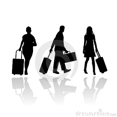 Passengers with luggage and trolley