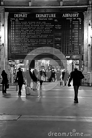 Gare du Nord Commuters and Schedule Board Editorial Image