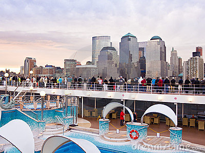 Passengers on MSC Poesia viewing Manhattan. Editorial Stock Photo
