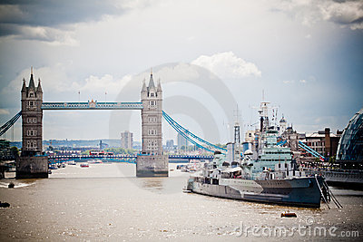 Passerelle et HMS Belfast de tour